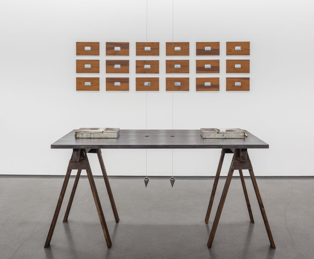 Drömarkiv, 2014, teak plywood, metal, glass, 18 panels, Korsdrag, 2014, wood, metal boxes, plummet
