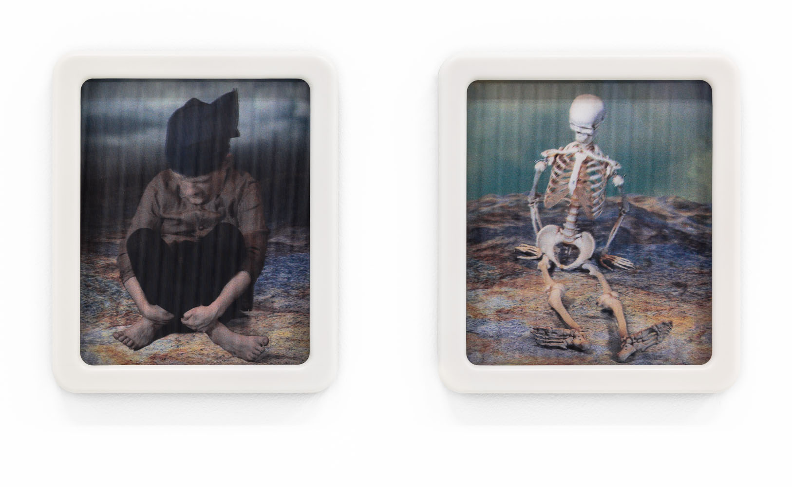 Diptych, 2014, lenticular print, frame in walnut and corian, 48 x 39 cm and 48 x 43 cm, edition of 3
