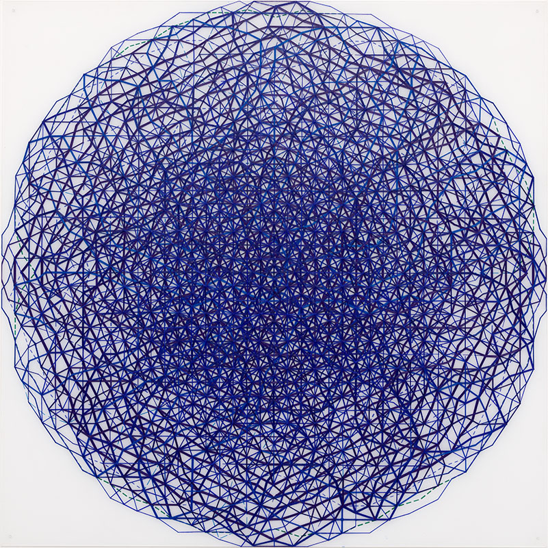 Blå sfär/Blue Sphere, 2014, oil and acrylic on acrylic glass, 150 x 150 cm