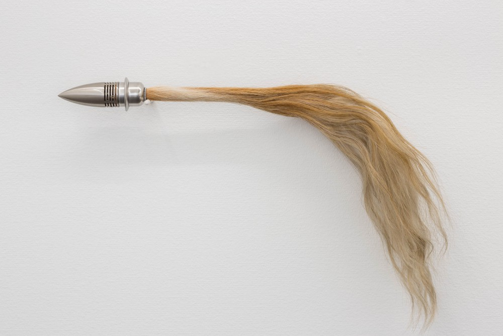 Tail, 2014, stainless steel, horsehair, dried mushrooms, cork, 6 x 78 cm, collaboration with David Ohlsson