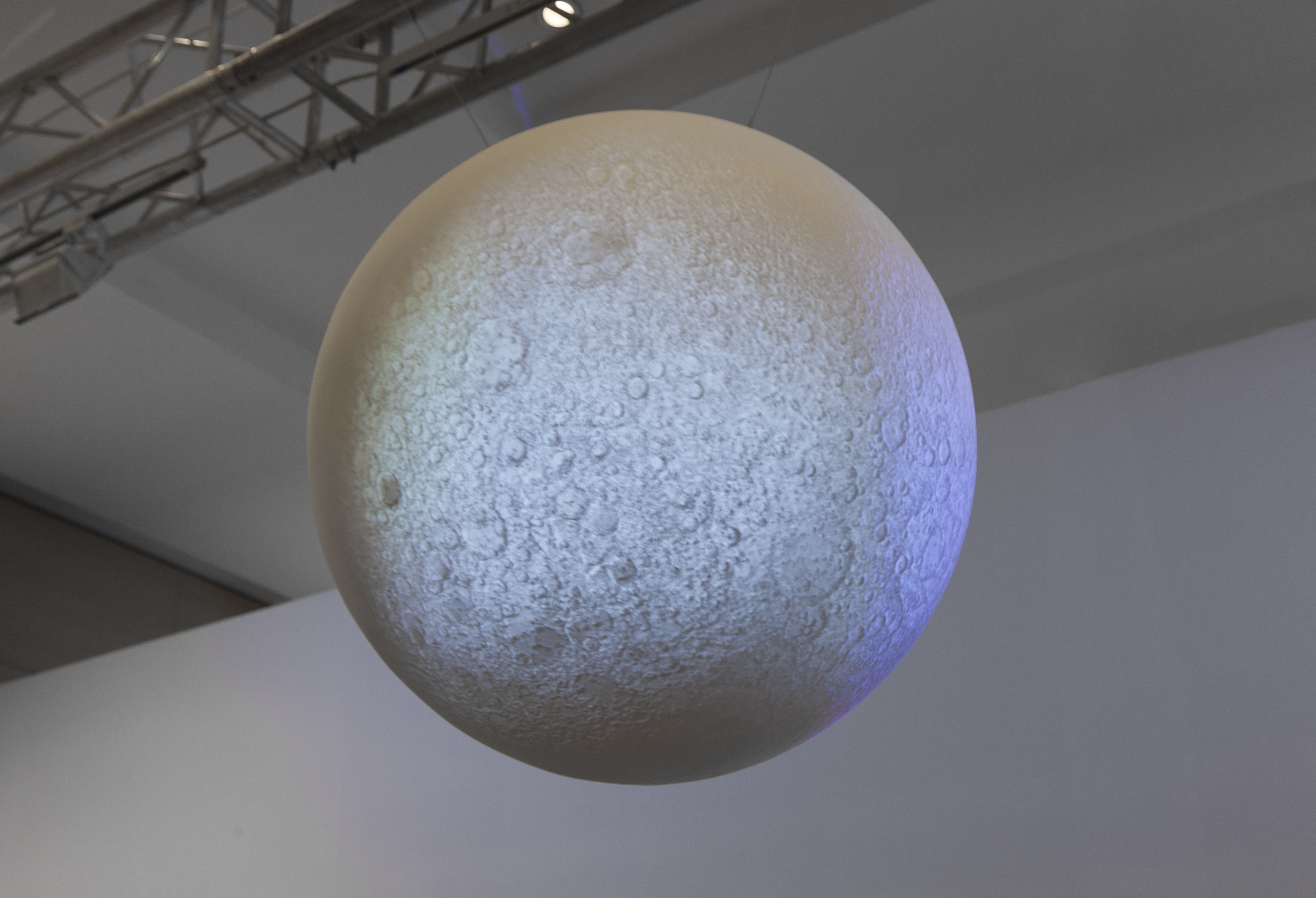 Moon, 2014, video projection on spherical sculpture by Johan Bergström Hyldahl