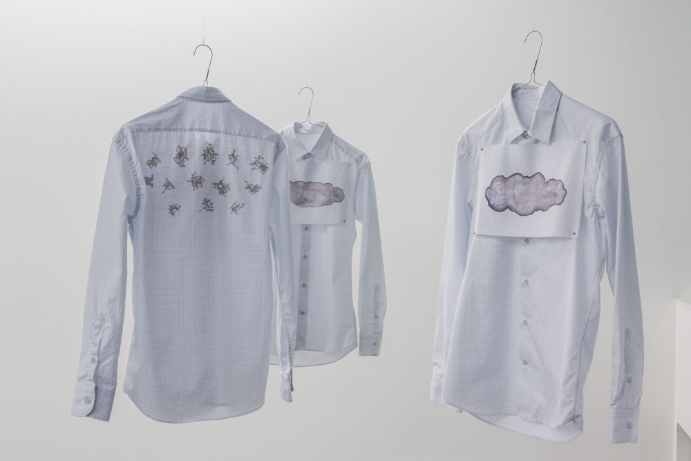 Babitz spelade luffarschack, 2014, 9 shirts, cotton, silver, silk, magnets, textile paint