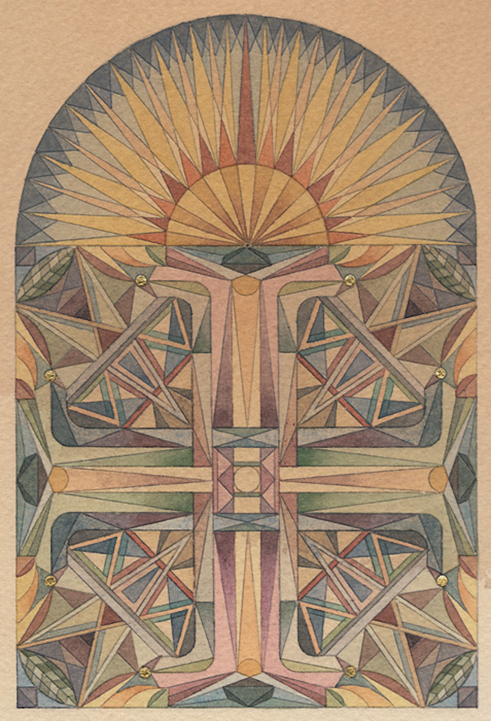 Meditation 30, 2011, Watercolour and gold-leaf on paper, 24 x 18 cm