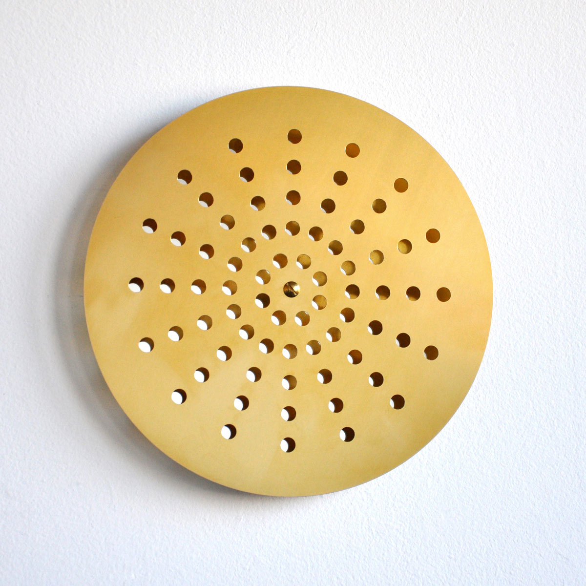 The Golden Shower, 2012, brass, mirror, Ø 35 x 1 cm