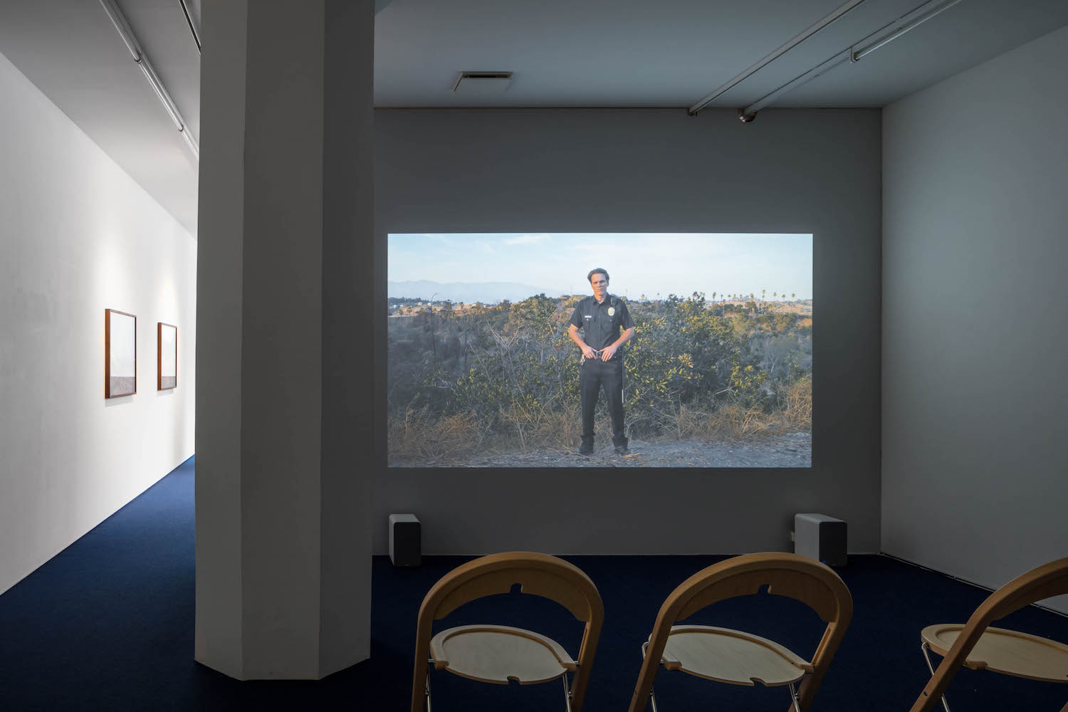 Installation view: Tova Mozard, Cops/Actors, 2017, photo: Jean-Baptiste Beranger