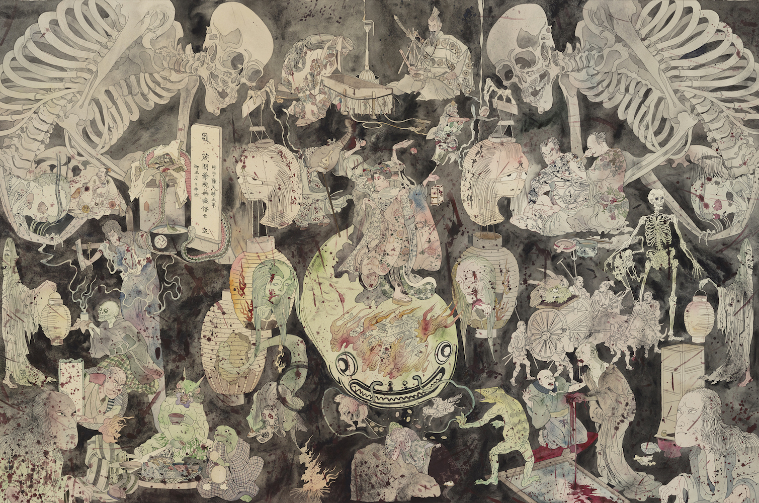 The Triumph of Death /Dödens triumf, 2018, watercolour on paper, black lacquered frame, museum glass, 115 x 166 cm