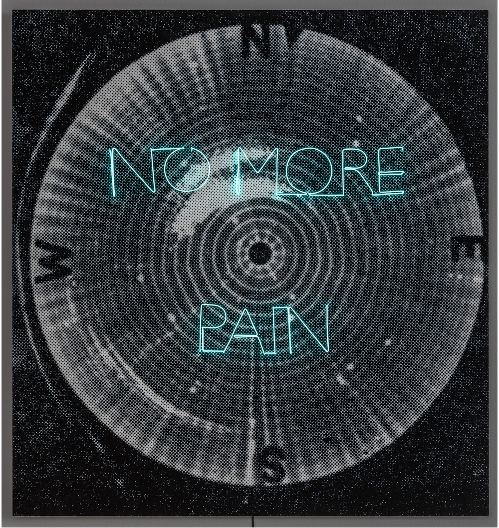 No More Pain, 2018, luminescent wire, pigment print, 110 x 103,5 cm