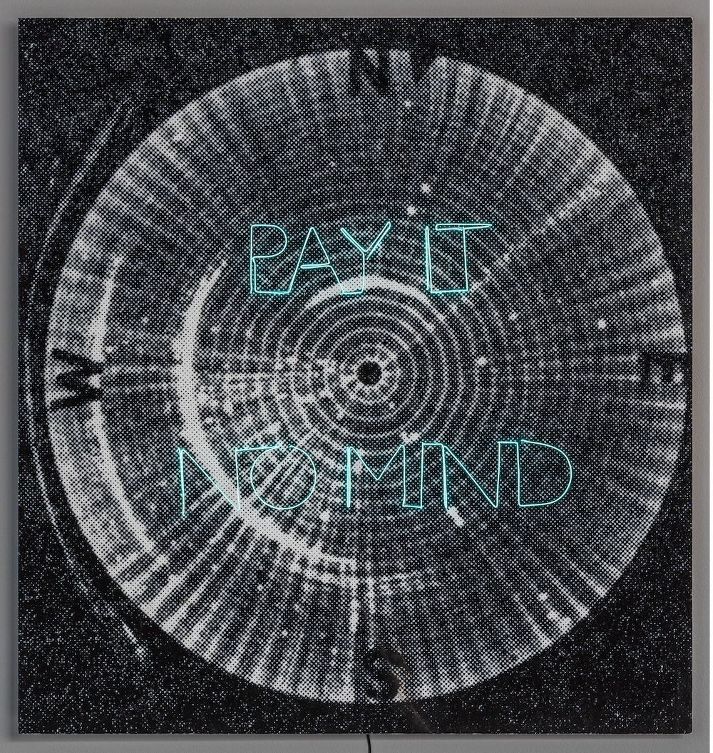 Pay It No Mind, 2018, luminescent wire, pigment print, 110 x 103,5 cm