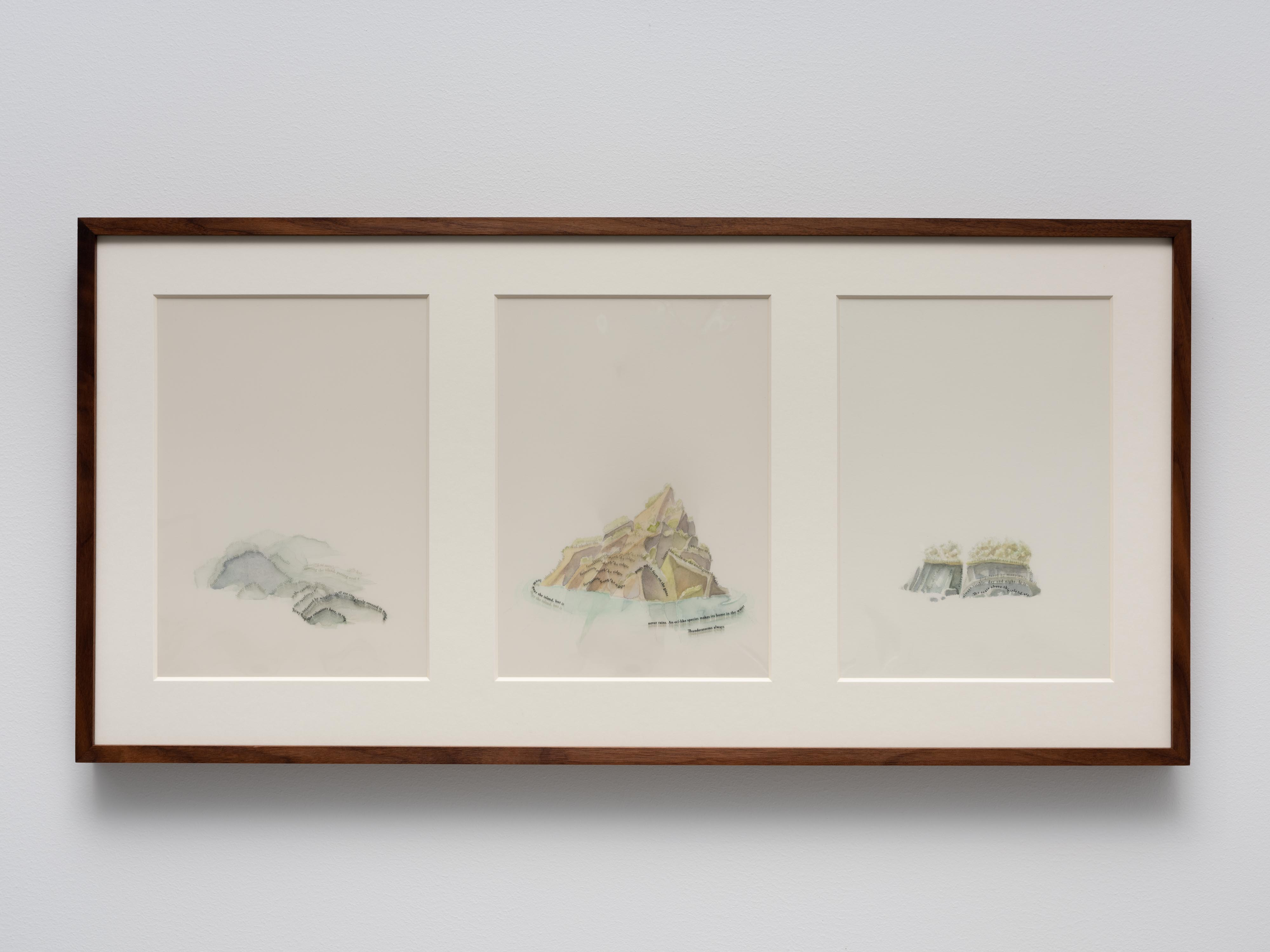 Untitled Islands (X-XII), 2019, watercolours, pigment print on film, museum glass, walnut frame, 40 x 82 cm