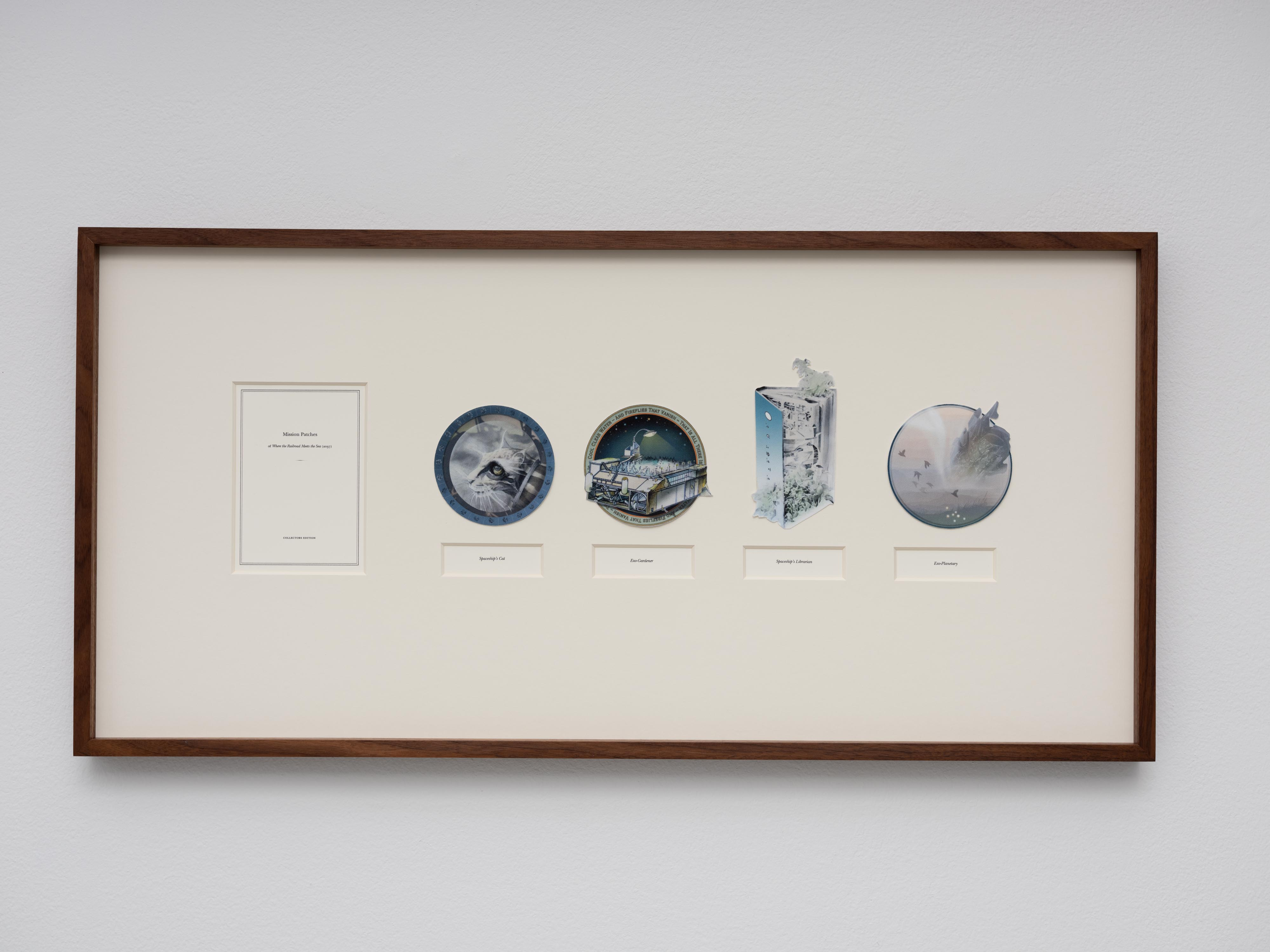 Mission Patches, 2019, pigment print on fabric and paper, museum glass, walnut frame, 40 x 82 cm, edition of 5