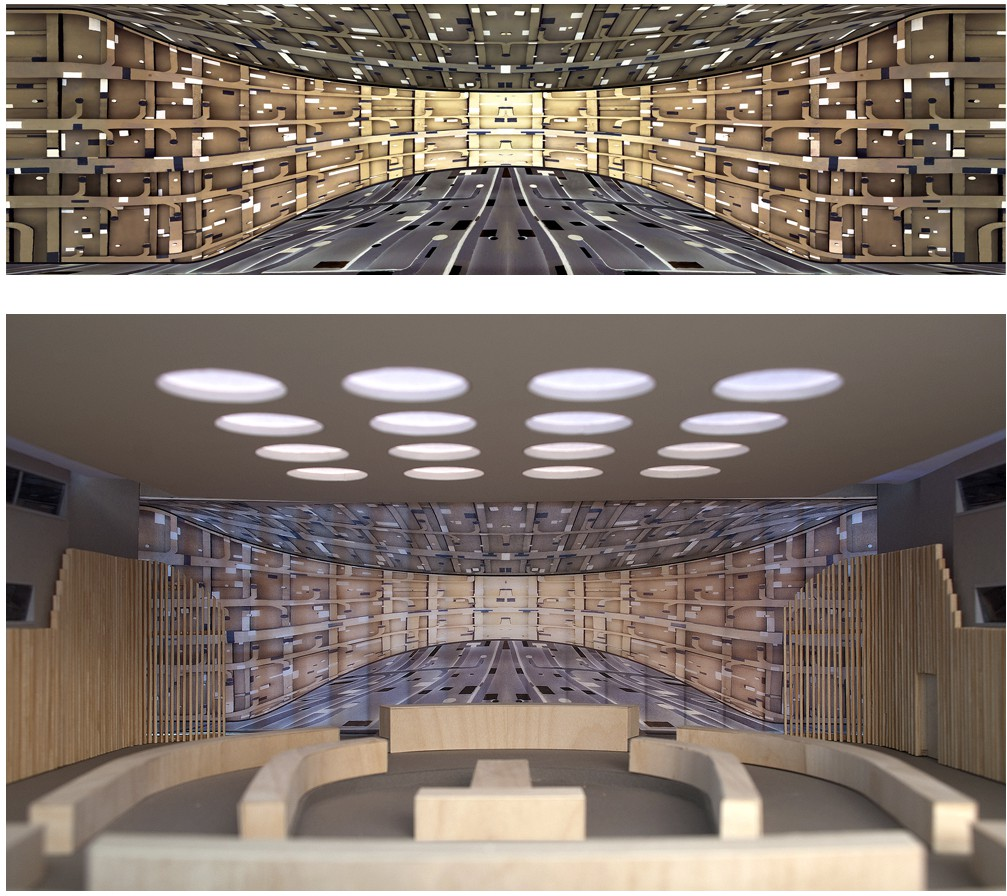 Clay Ketter, Breather, 2010, proposal for drapery, ECOSOC Chamber, UN Campus, New York