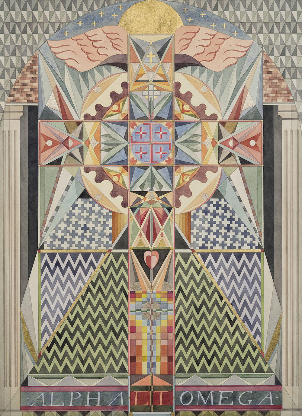 Fredrik Söderberg, Alpha et Omega, 2015, watercolour and gold leaf on paper, 75 x 54 cm