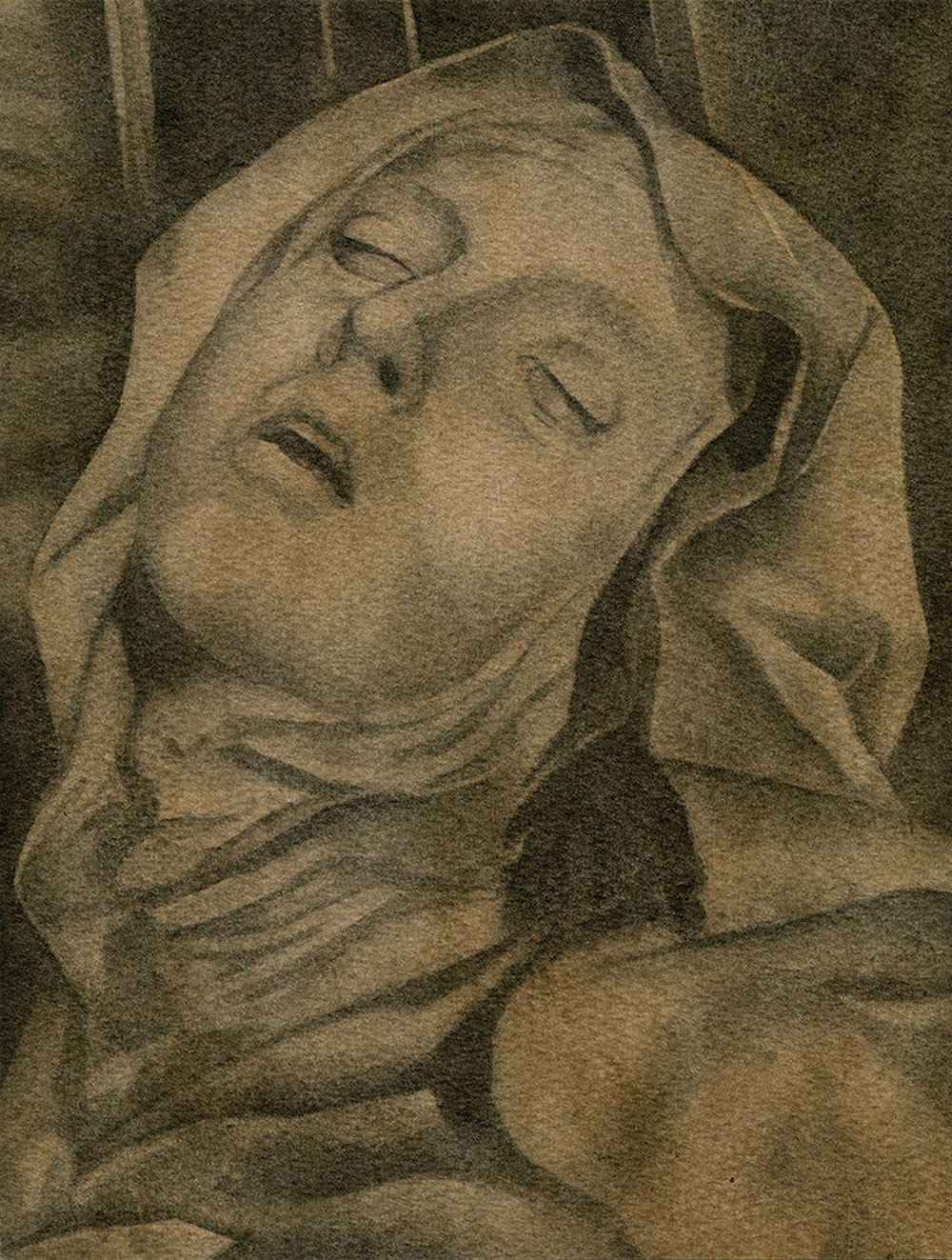 Fredrik Söderberg, The Ecstasy of Saint Teresa, 2016, watercolour on paper, 24 x 18 cm