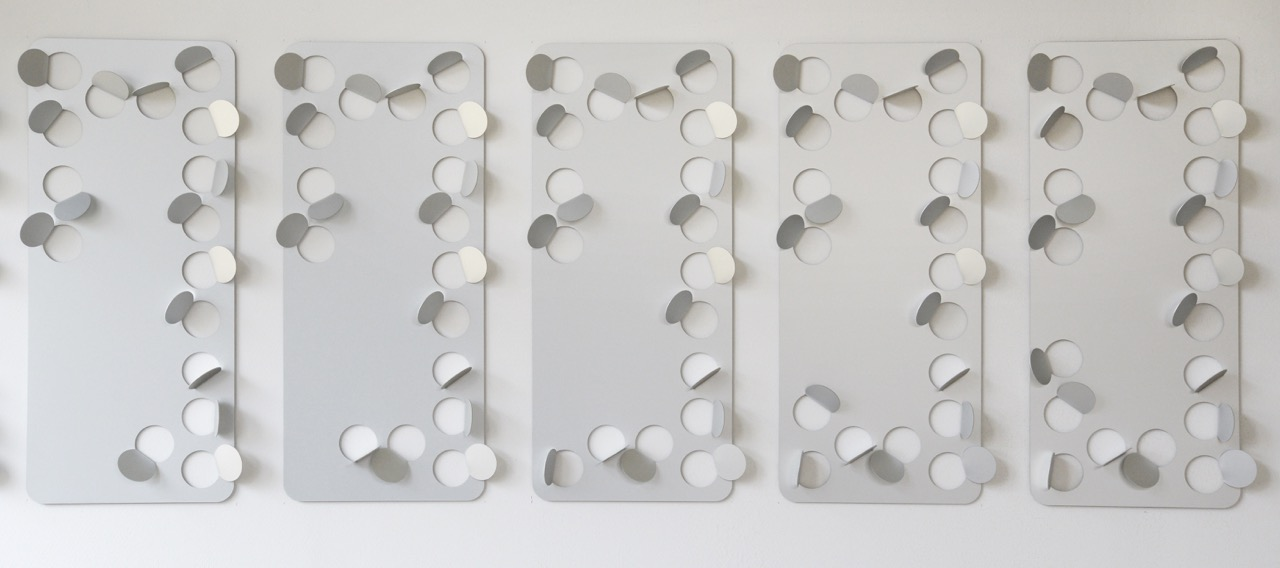 Kristina Matousch, Nobody 16-20, 2018, 5 of a series of 21, anodized aluminum, 70 x 30 cm each, edition of 2