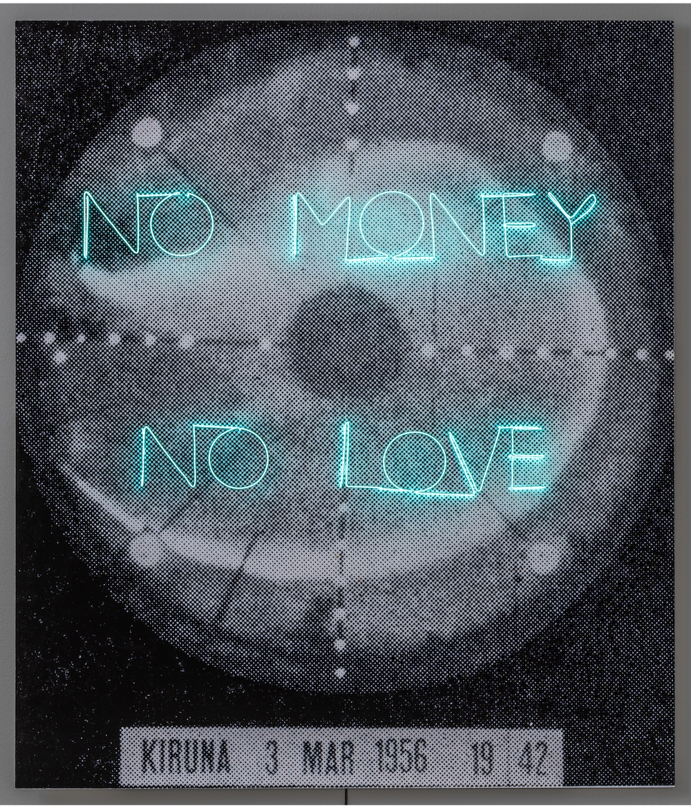 Mats Hjelm, No Money No Love, 2018, luminescent wire, pigment print, 121 x 104 cm