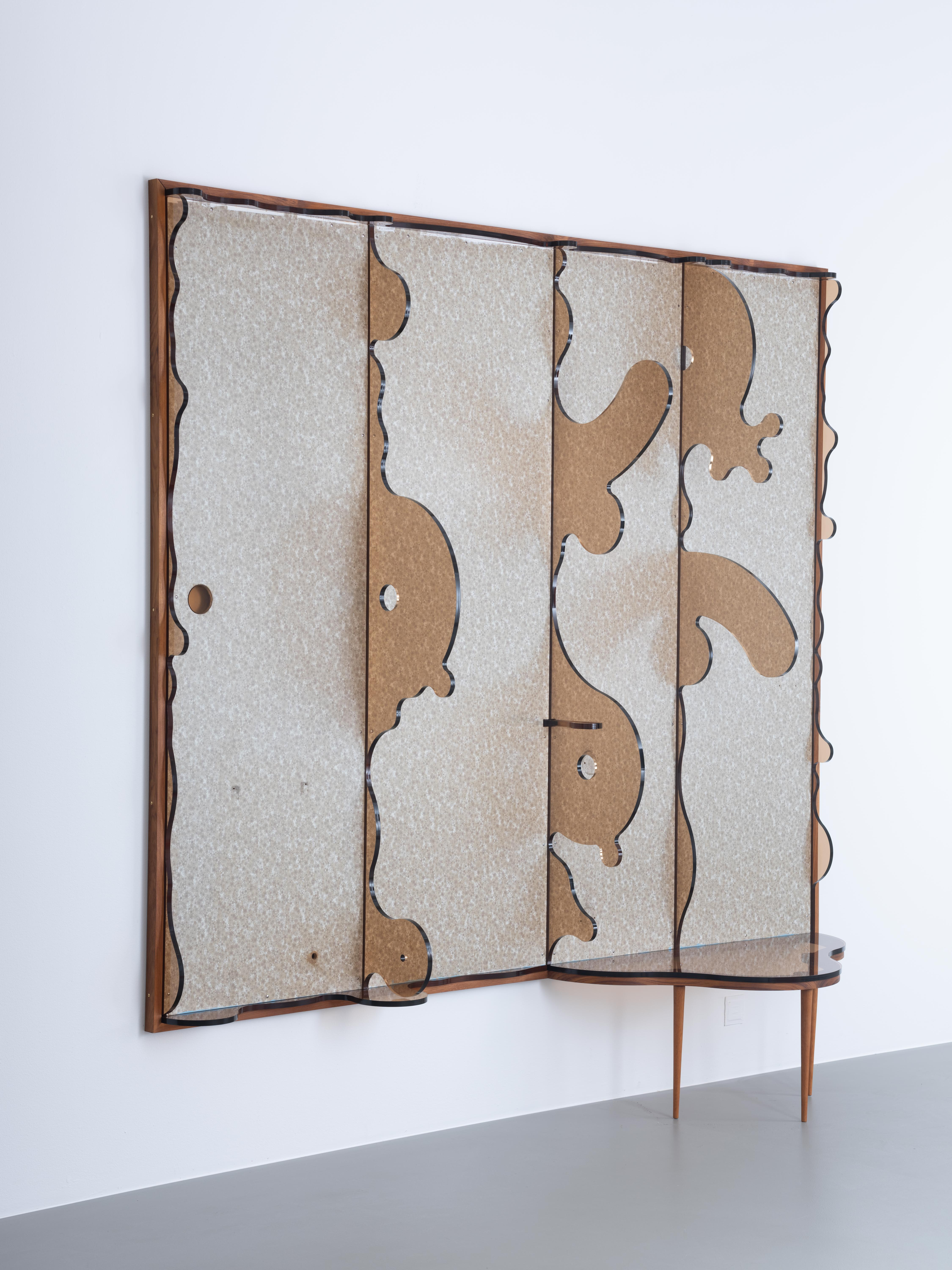 Clay Ketter, Persson's Dream, 2019, formica laminate on plywood, wood frame, laser-cut acrylic sheet, teak, hardware, 245 x 248 x 58 cm