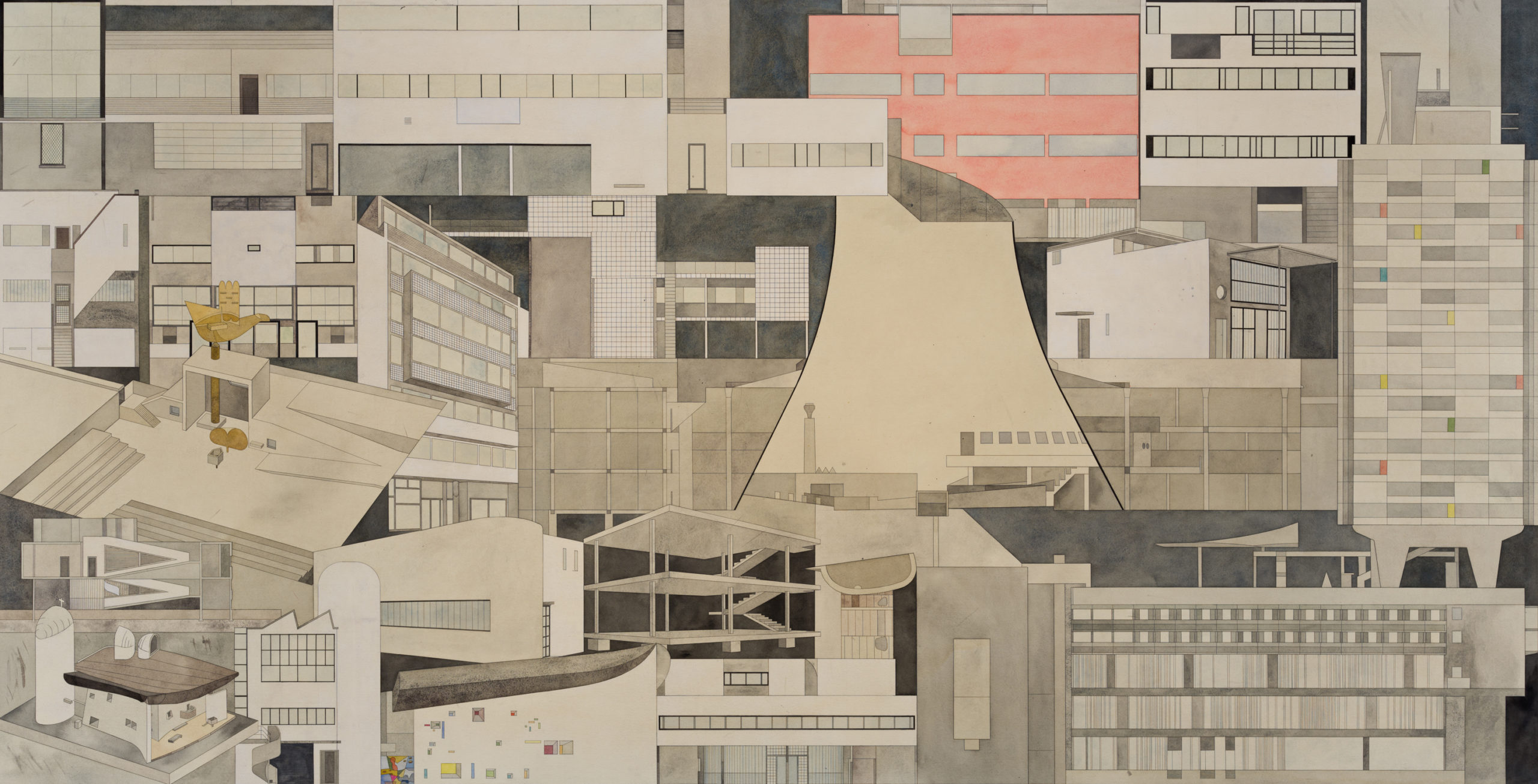 Fredrik Söderberg, Chandigarh, 2020, watercolor on paper, black stained wooden frame, museum glass, 122 x 228 cm