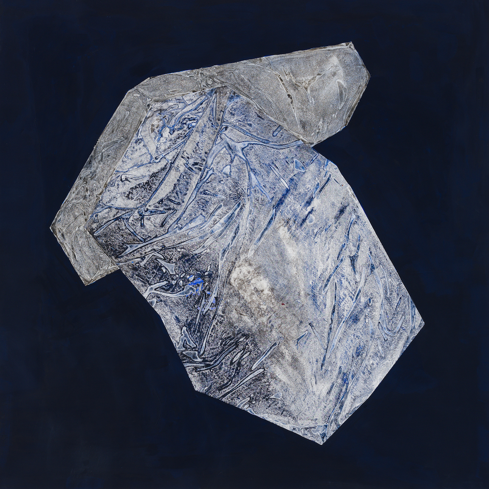Sigrid Sandström, Solid I, 2020, acrylics on canvas, frame in walnut, 121 x 121 cm